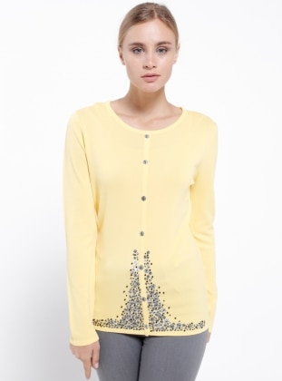 Yellow - Crew neck - Blouses