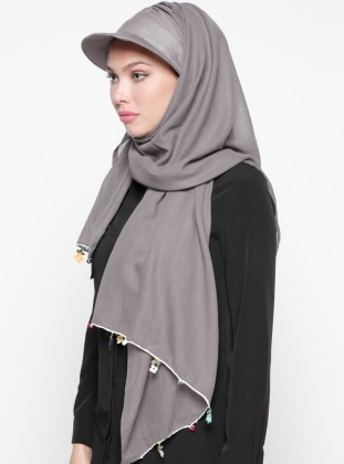 Cotton - Plain - Gray - Instant Scarf