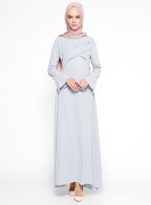 BÜRÜN Volan Detaylı Elbise - Mavi