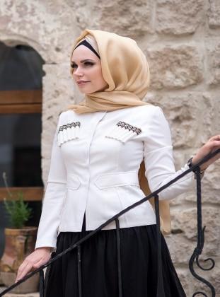 Yaka Detaylı Ceket - Beyaz Müslima Wear