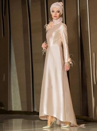 Afrodit Abiye Elbise - Pudra