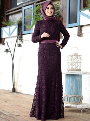 Fully Lined - Crew neck - Purple - Dresses