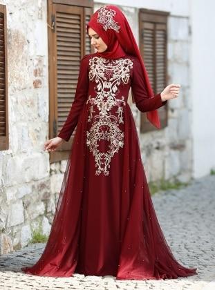 Pırıl Abiye Elbise - Bordo SomFashion