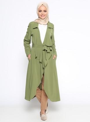 Şal Yaka Kap - Yağ Yeşili Beha