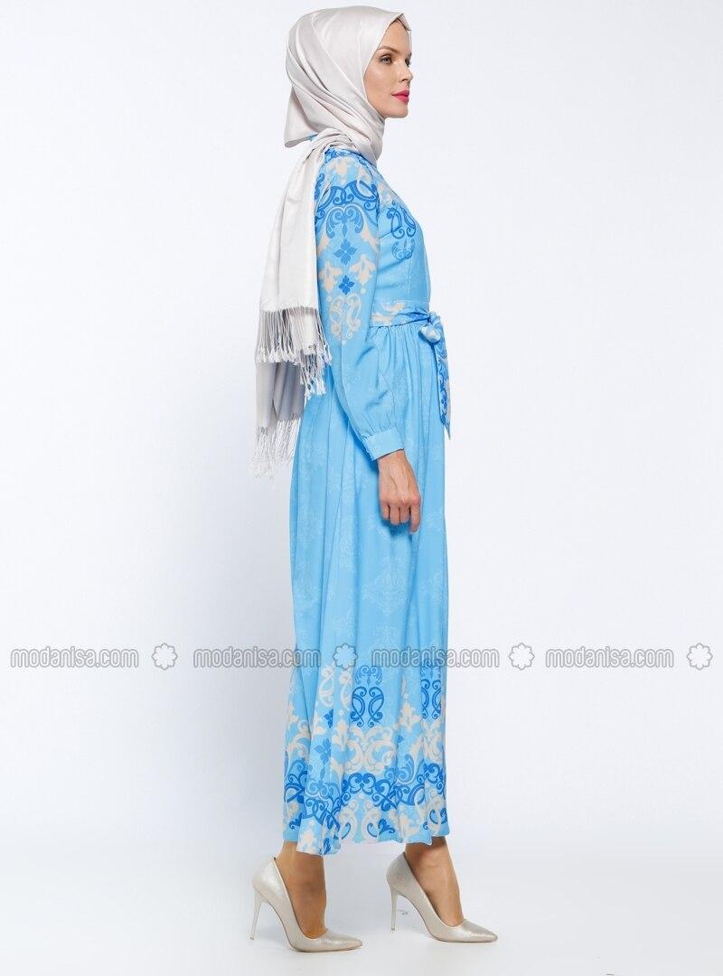 Bleu multicolore col chinois tissu double robe for Robe col chinois