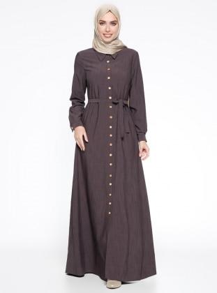 Düğmeli Elbise - Kahverengi