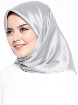 Gray - Silver tone - Plain - Scarf - Mısırlı