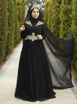 Crew neck - Fully Lined - Black - Muslim Evening Dress