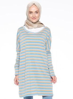 Blue - Orange - Stripe - Crew neck - Tunic - Meys 309251