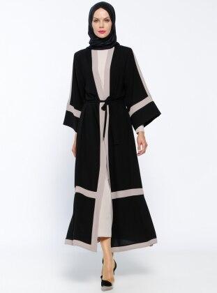 Unlined - Beige - Minc - Black - Crew neck - Abaya