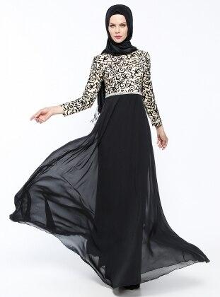Flok Baskılı Abiye Elbise - Siyah Mileny