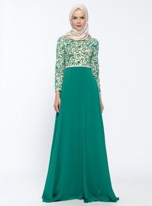 Flok Baskılı Abiye Elbise - Yeşil Mileny