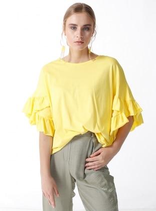 Kolları Fırfırlı Bluz - Sarı