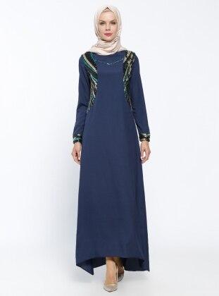 Navy Blue - Fully Lined - Crew neck - Muslim Evening Dress - Mileny 309686