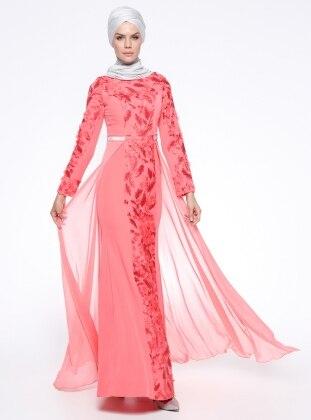 Sherri Woman Şifon Parçalı Nakışlı Abiye Elbise - Mercan - Sherri Women