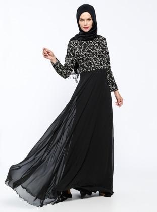 Simli Abiye Elbise - Siyah Mileny