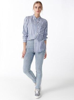 Yüksek Bel Cepsiz Pantolon - Açık Mavi