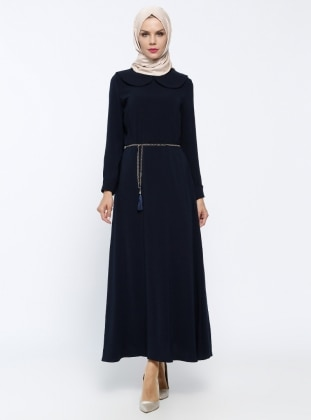 Zincir Kemerli Elbise - Lacivert Mileny