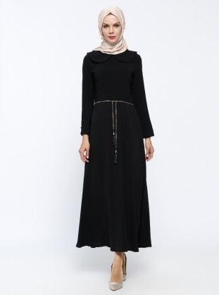 Zincir Kemerli Elbise - Siyah Mileny