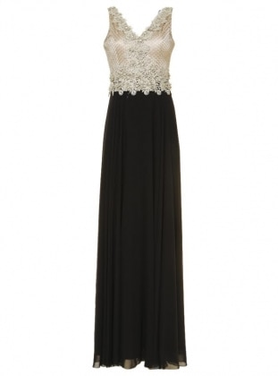 Zırh Detaylı Kolsuz Abiye Elbise - Siyah Mileny