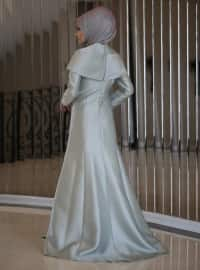 Mint - Fully Lined - Crew neck - Muslim Evening Dress
