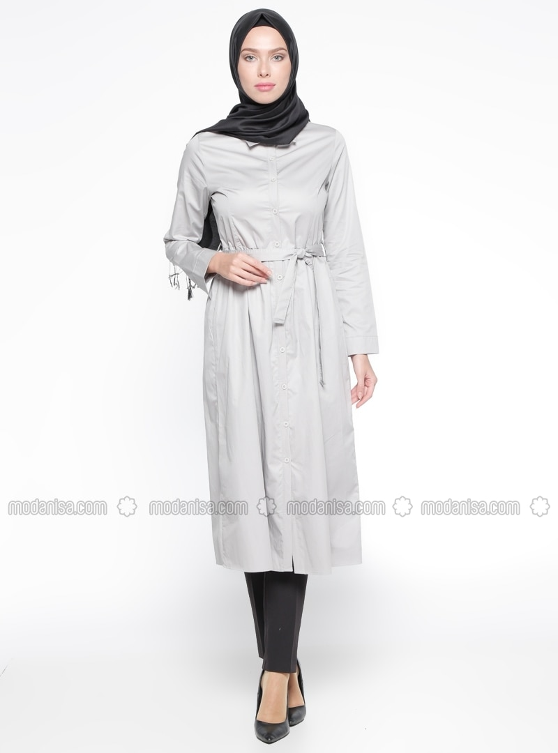 Gray - Unlined - Point Collar - Cotton - Topcoat