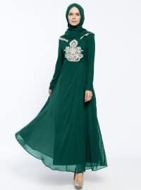 Güpürlü Abiye Elbise&Eşarp İkili Takım - Yeşil - BÜRÜN