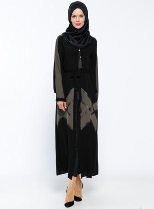 Jamila Fermuarlı Abaya - Haki Siyah