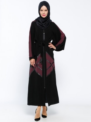 Fermuarlı Abaya - Mürdüm Siyah - Jamila Ürün Resmi