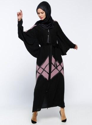 Jamila Fermuarlı Abaya - Pudra Siyah
