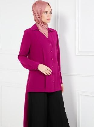 Purple - Point Collar - V neck Collar - Tunic - Refka