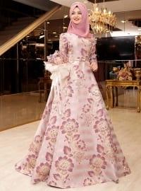 Gaye Brokar Abiye Elbise - Pudra - Pınar Şems