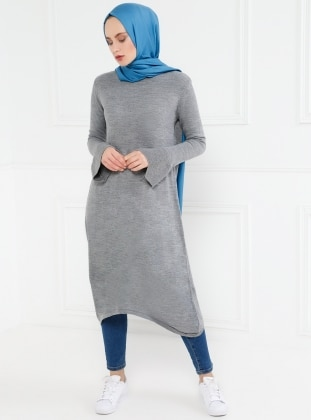 Gray - Crew neck - Tunic - Refka