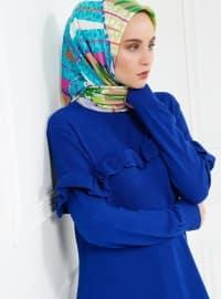 Triko Elbise - Mavi - Refka