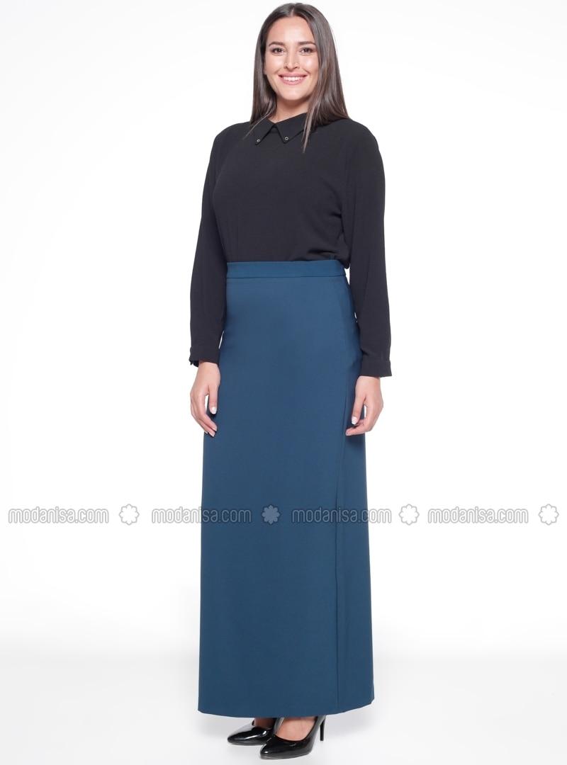 2cd93360e9 Petrol - Unlined - Plus Size Skirt. Fotoğrafı büyütmek için tıklayın