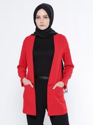 Cep Detaylı Ceket - Kırmızı Belle Belemir