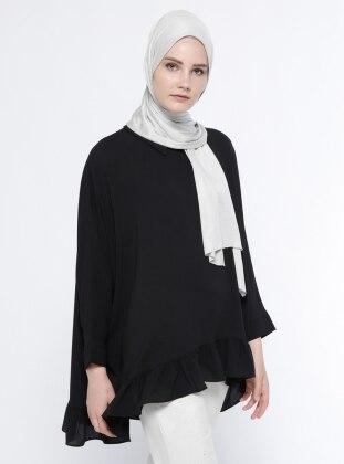Fırfır Detaylı Salaş Tunik - Siyah Belle Belemir