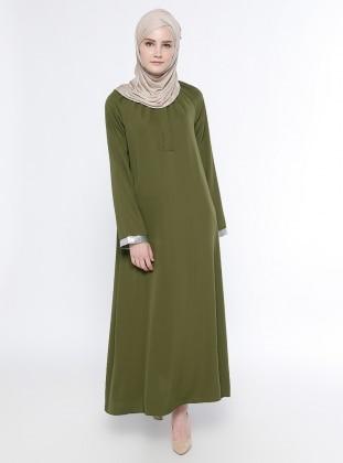 Gizli Düğme Detaylı Elbise - Haki Belle Belemir