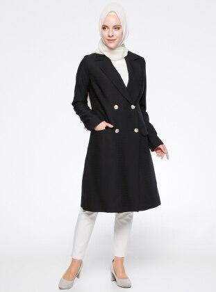 Şal Yaka Ceket - Siyah Modesty