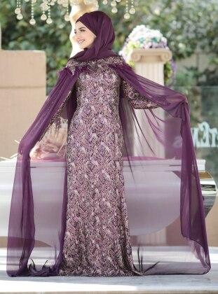 Omzu Pelerin Abiye Elbise - Mor Gamze Özkul