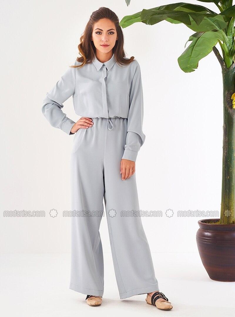 ec5af243e5a Mint - Unlined - Point Collar - Jumpsuit - Mishela Noor