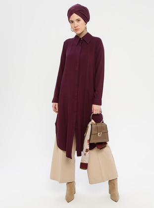 Purple - Point Collar - Viscose - Tunic