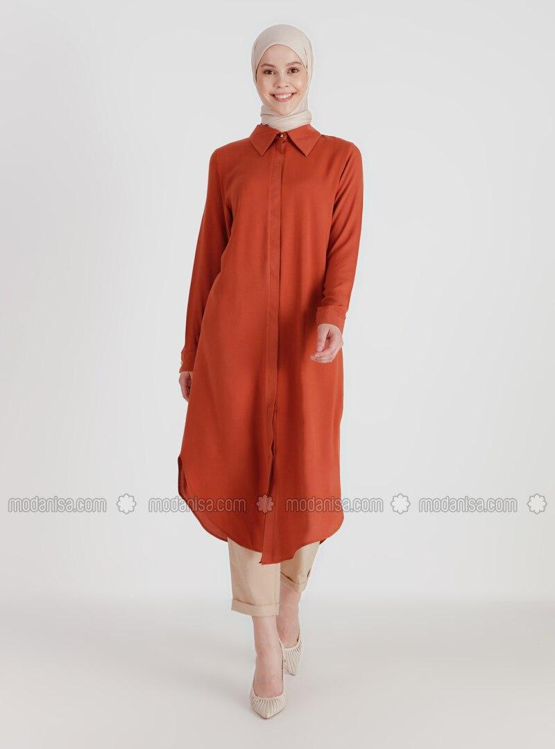 Tan - Point Collar - Viscose - Tunic