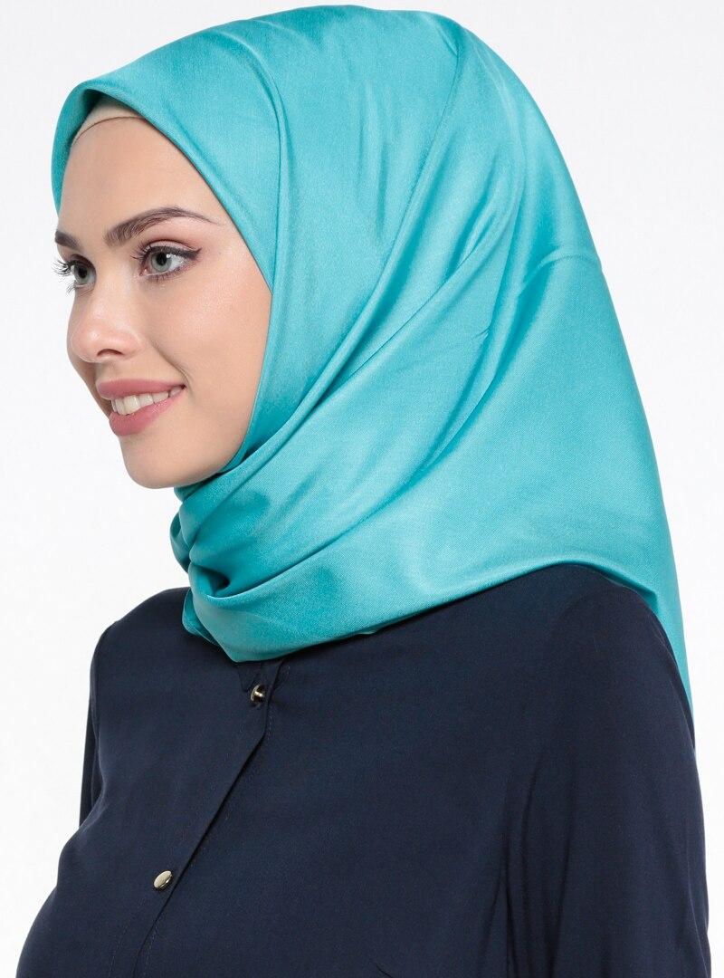 Tesettür %100 İpek Eşarp Mervin Şal Mavi Kadın Standart