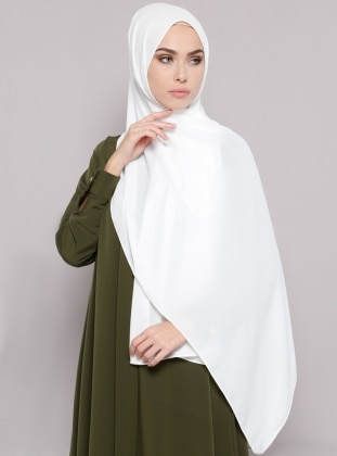 White - Plain - Crepe - White - Plain - Crepe - Shawl