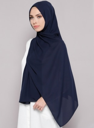 Navy Blue - Plain - Crepe - Shawl - Şal