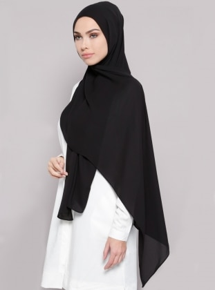 Crepe - Plain - Black - Shawl
