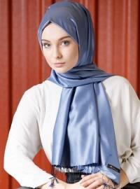 Düz Renk İpek Şal - Mavi Lacivert - Mervin Şal