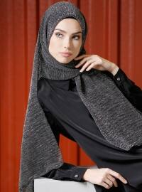 Simli Pilise Şal - Siyah Gümüş - Tuva Şal