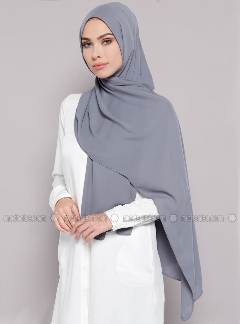 Gray - Plain - Crepe - Shawl